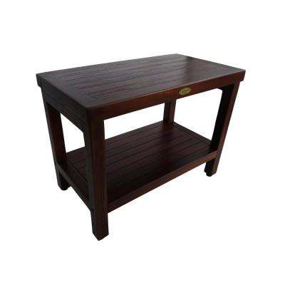 Classic 24 in. Teak Shower Bench with Shelf