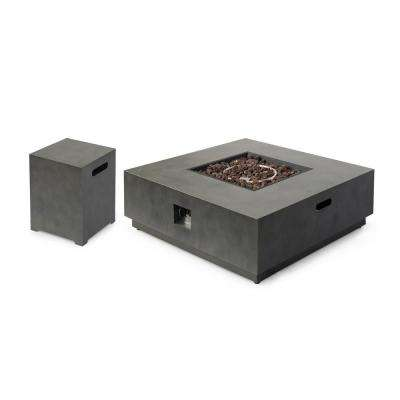 Wellington 15.25 in. x 19.75 in. Square Concrete Propane Fire Pit in Dark Grey with Tank Holder