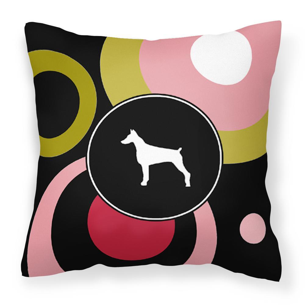 14 in. x 14 in. Multi-Color Lumbar Outdoor Throw Pillow Doberman Decorative Canvas Fabric Pillow