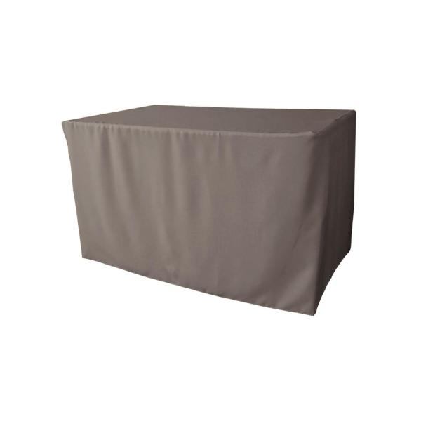 LA Linen 48 in. L x 30 in. W x 30 in. H Dark Gray Polyester Poplin Fitted Tablecloth