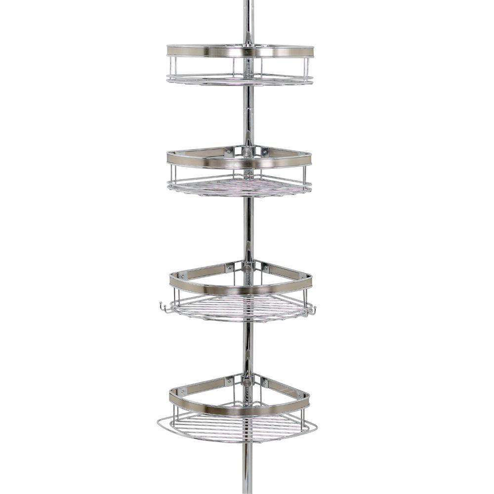 Zenna Home Premium Metal Pole Shower Caddy in Chrome-2133NS - The ...