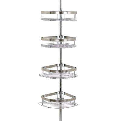 Premium Metal Pole Shower Caddy in Chrome