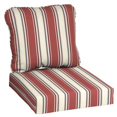 24 in. x 22 in. Chili Herringbone Stripe Deep Seating Outdoor Lounge Chair Cushion