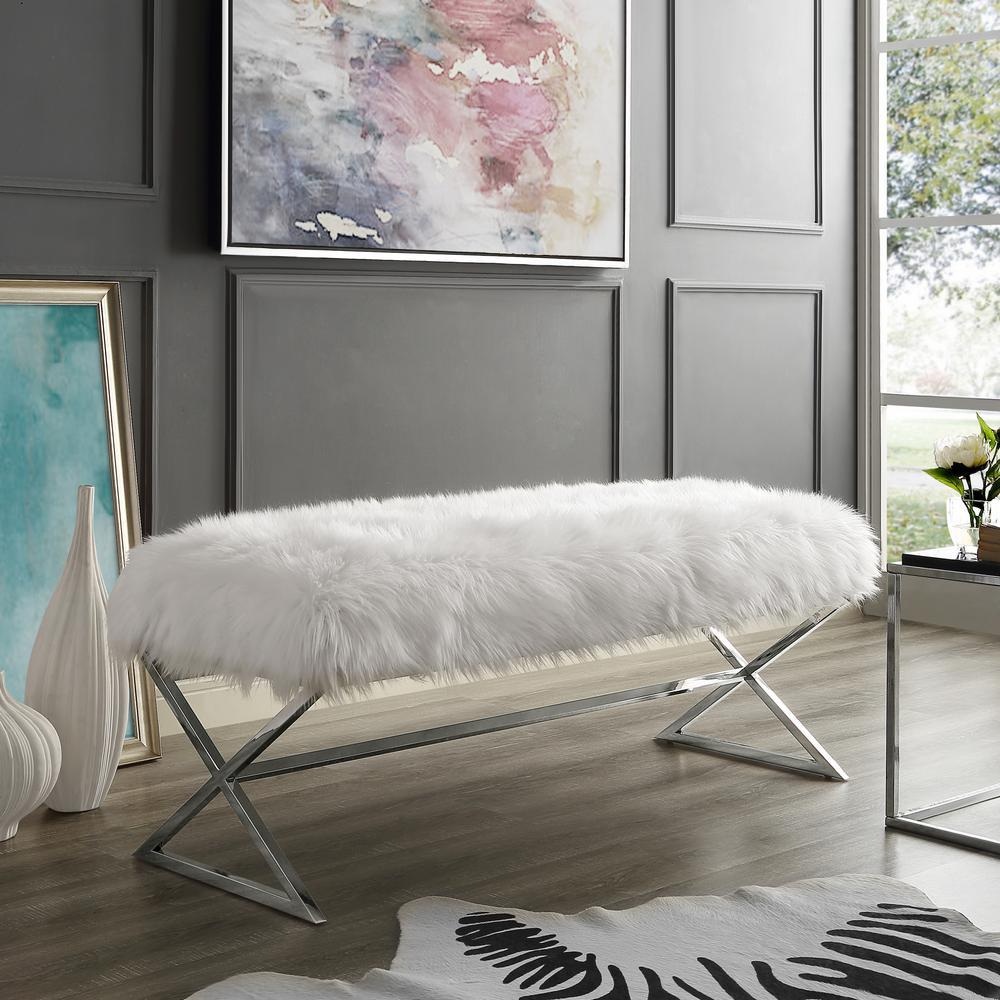 Elora Metal X-Leg White/Chrome Faux Fur Bench