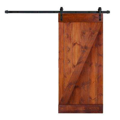 36 in. x 84 in. Z Series DIY Red Walnut Finished Knotty Pine Wood Barn Door with 6.6 ft. Sliding Door Track Hardware Kit