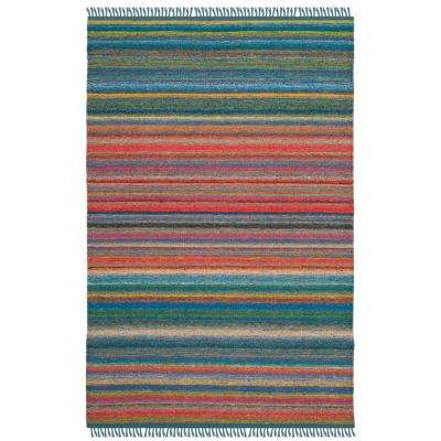 Kilim Blue/Orange 4 ft. x 6 ft. Area Rug