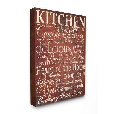"24 in. x 30 in. ""Words in the Kitchen, Off Red"" by Gplicensing Printed Canvas Wall Art"