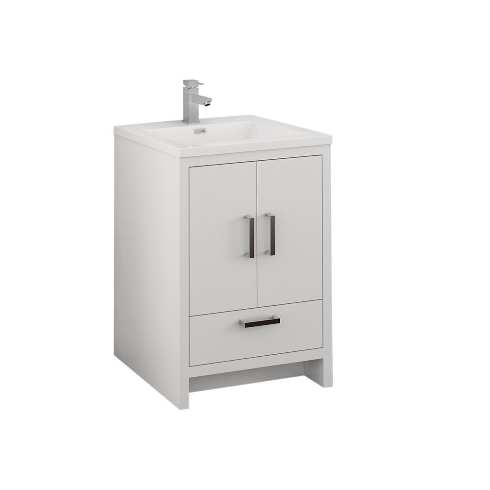 Fresca Imperia 24 in. Modern Bathroom Vanity in Glossy White with Vanity Top in White with White Basin