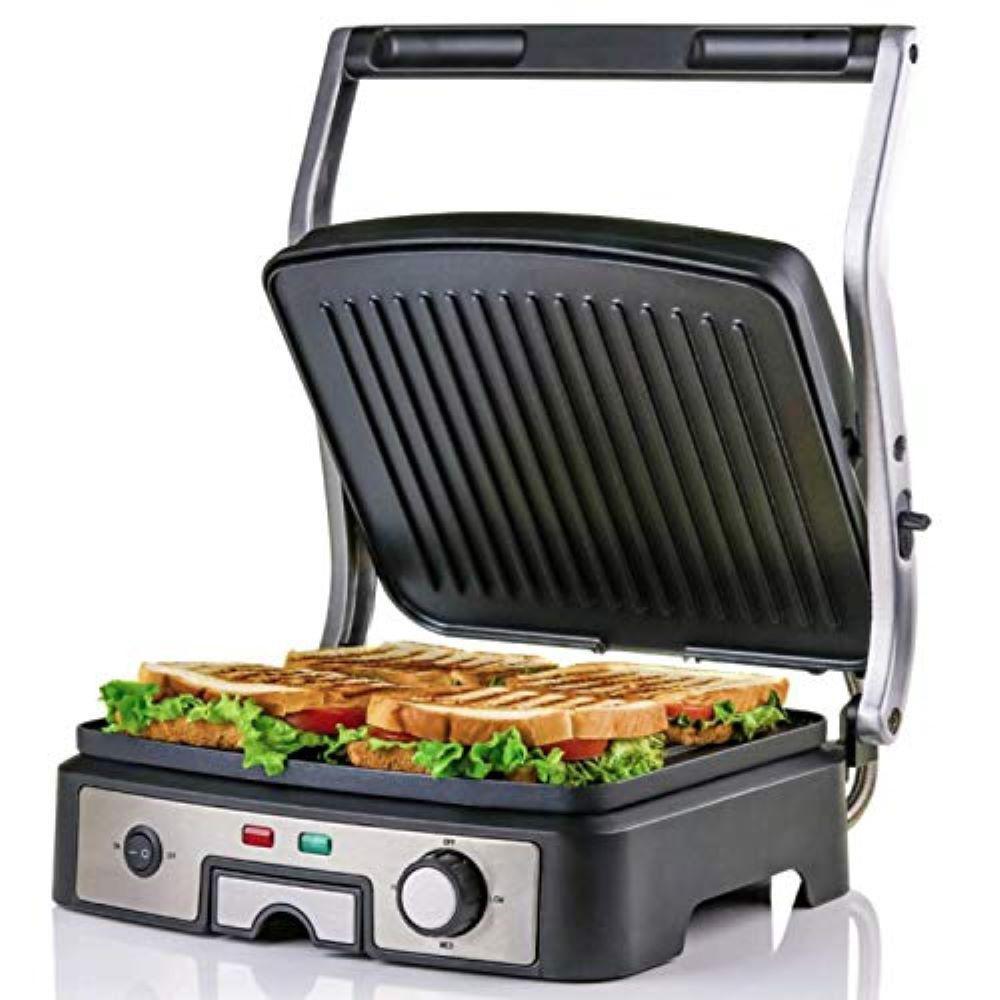 4-Slice Electric Panini 180 Adjustable Hinge Non-Stick 3 Heat Settings Drip Tray, Free Grill (GP1861BR)