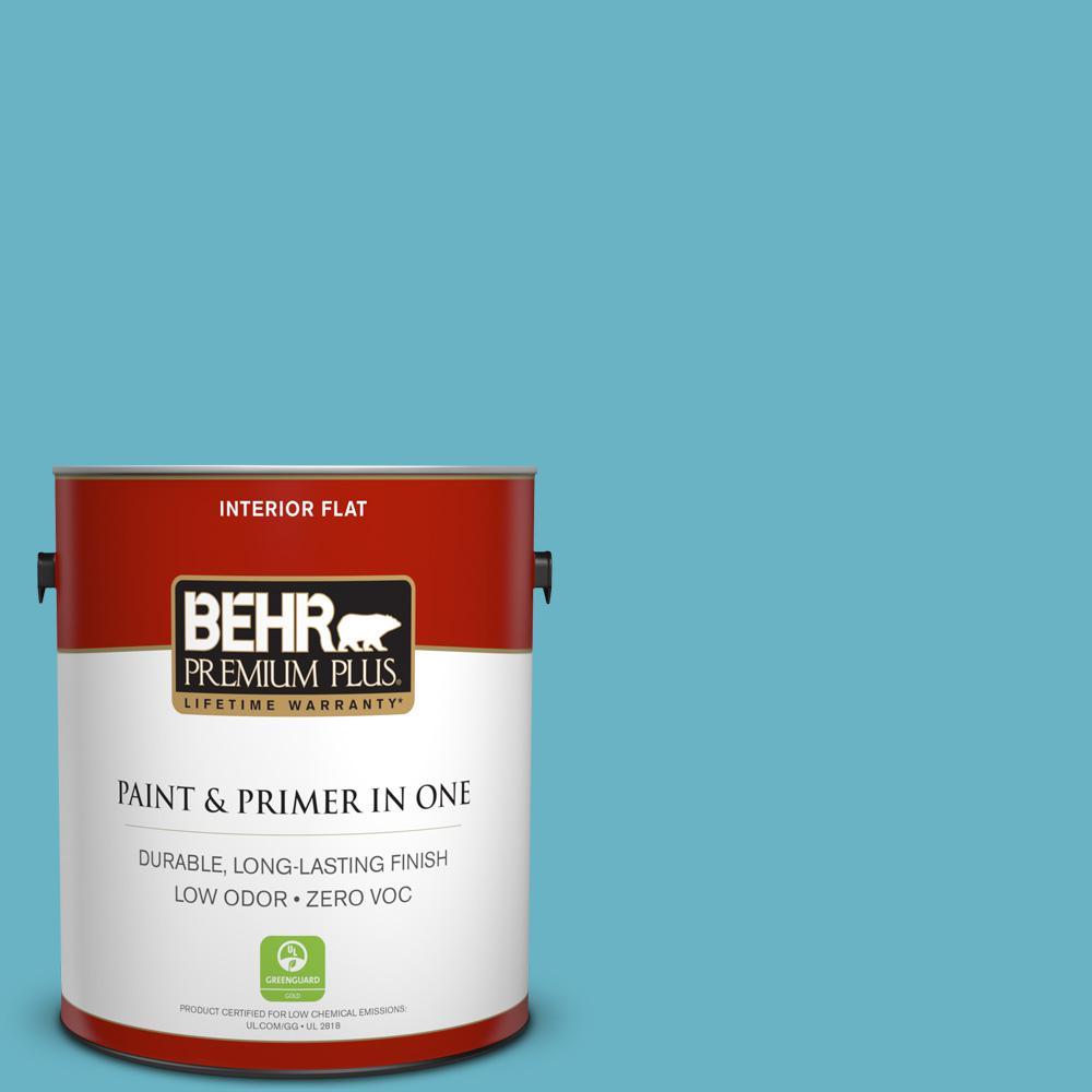 BEHR Premium Plus 1 gal. #530D-5 Riverside Blue Flat Zero VOC Interior Paint and Primer in One