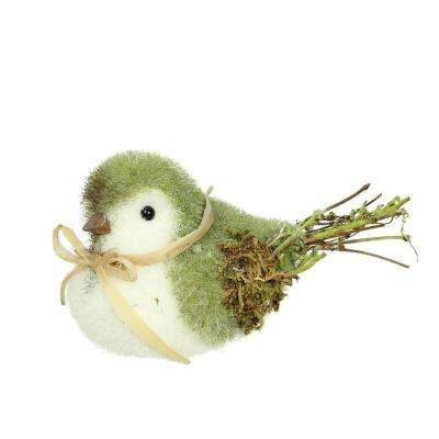 "8.25"" Green  White and Brown Decorative Spring Bird Table Top Figure"
