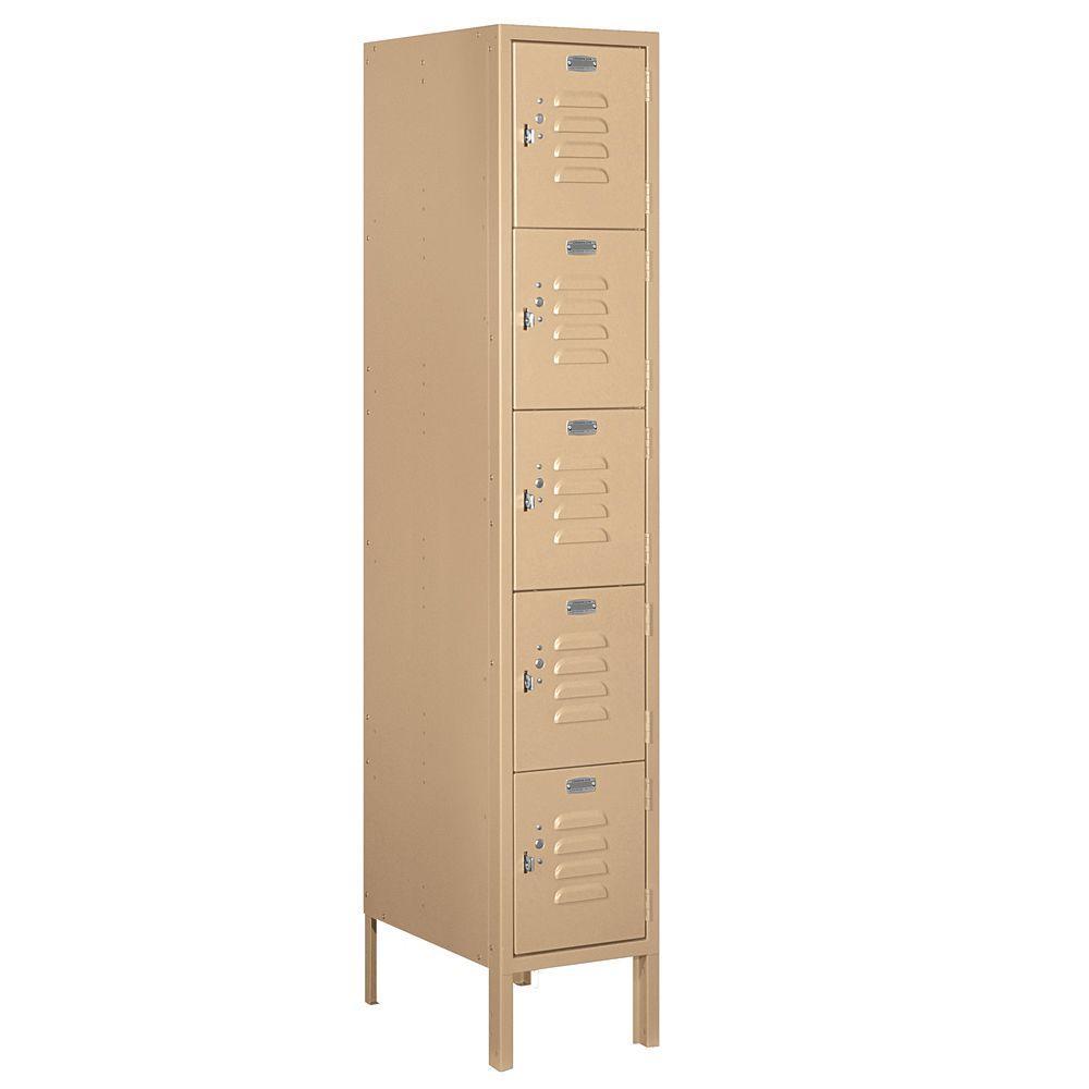 65000 Series 12 in. W x 66 in. H x 18 in. D Five Tier Box Style Metal Locker Unassembled in Tan