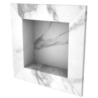17 in. x 17 in. Square Recessed Shampoo Caddy in Calacatta White