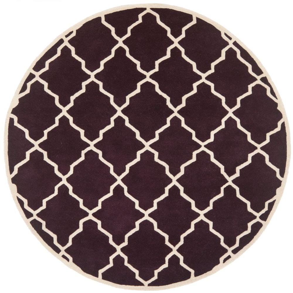 Safavieh Chatham Dark Purple 7 ft. x 7 ft. Round Area Rug