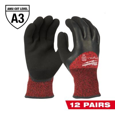 X-Large Red Latex Level 3 Cut Resistant Insulated Winter Dipped Work Gloves (12-Pack)