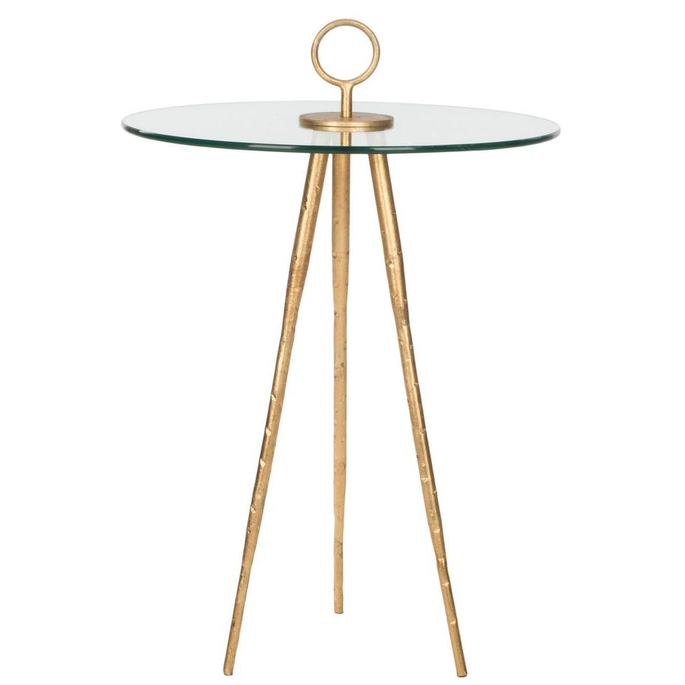 Safavieh Delma Gold Glass Top End Table