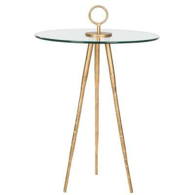 Delma Gold Glass Top End Table