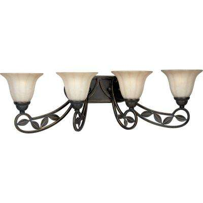 Le Jardin Collection 4-Light Espresso Vanity Light with Sandstone Glass Shades