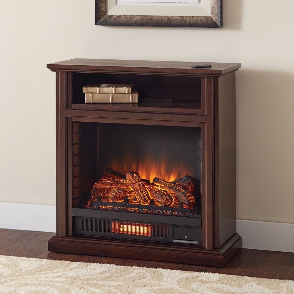 Add a modish touch to your room by using this affordably priced Hampton Bay Ansley Mobile Media Console Infrared Electric Fireplace in Cherry.