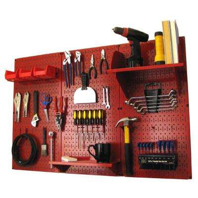 32 in. x 48 in. Metal Pegboard Standard Tool Storage Kit with Red Pegboard and Red Peg Accessories