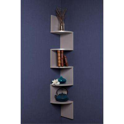 Zig Zag 7.75 in W x 7.75 in. D Floating Laminate Corner Wall Decorative Shelf in Gray Finish