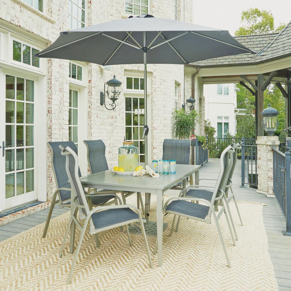 South Beach Gray 9-Piece Aluminum Round Outdoor Dining Set