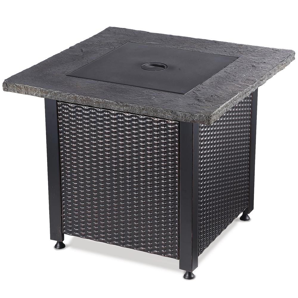 30 in. Square Steel LP Gas Fire Table with Slate Look