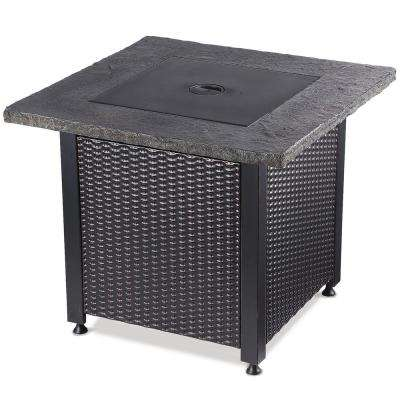 30 in. W Square Steel Frame and Weather Resistant Slate Look Mantel LP Gas Fire Pit with Integrated Ignition
