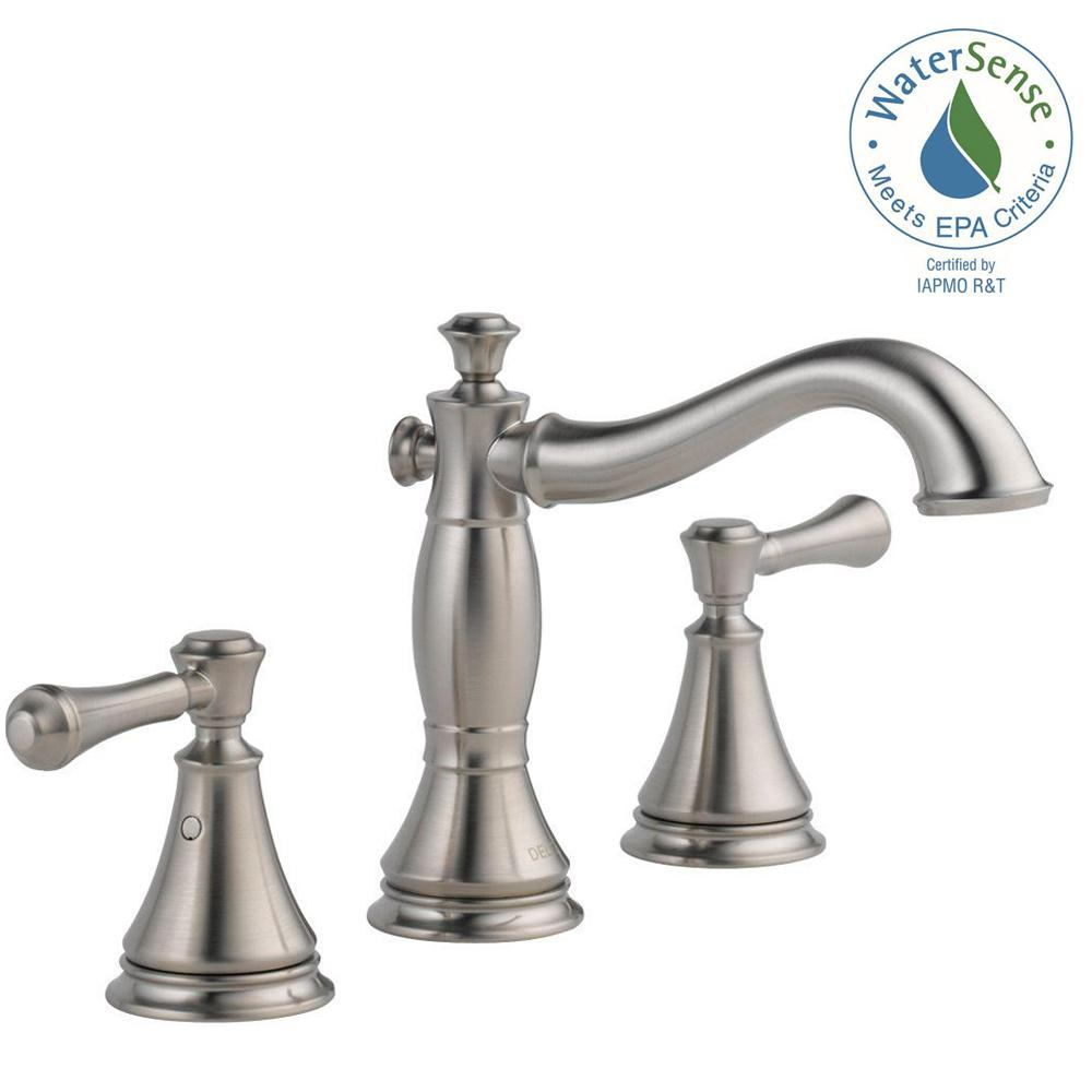 Delta Cidy 8 In Widespread 2 Handle Bathroom Faucet With Metal Drain Embly
