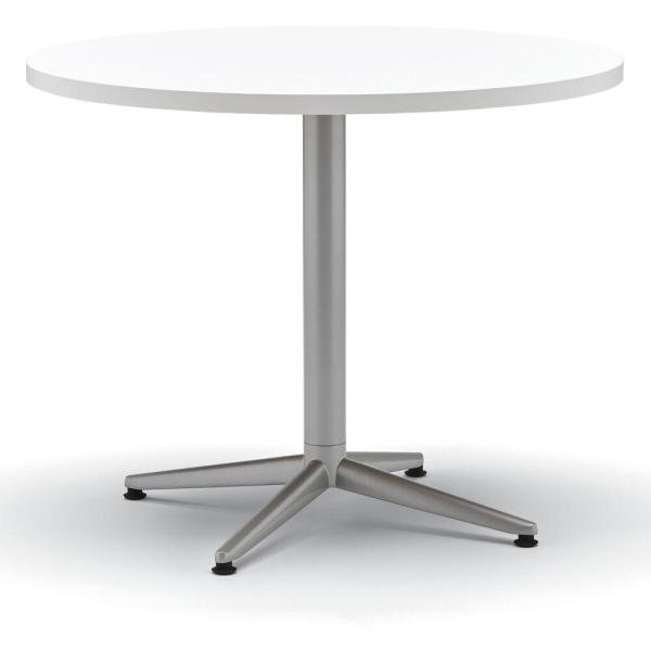 White/Silver Round Laminate Top Table with X-Base