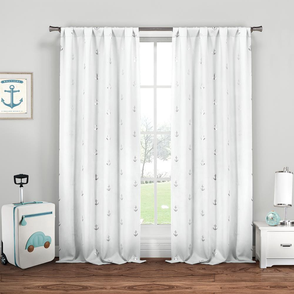 Duck River Ahoy 37 in. x 84 in. L Polyester Metallic Curtain Panel in White-Silver (2-Pack)