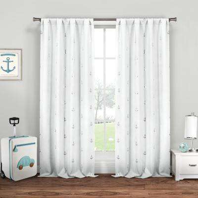 Ahoy 37 in. x 84 in. L Polyester Metallic Curtain Panel in White-Silver (2-Pack)