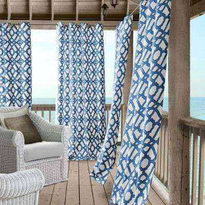 Marin 50 in. W x 95 in. L Polyester Indoor/Outdoor Single Window Curtain Panel in Blue