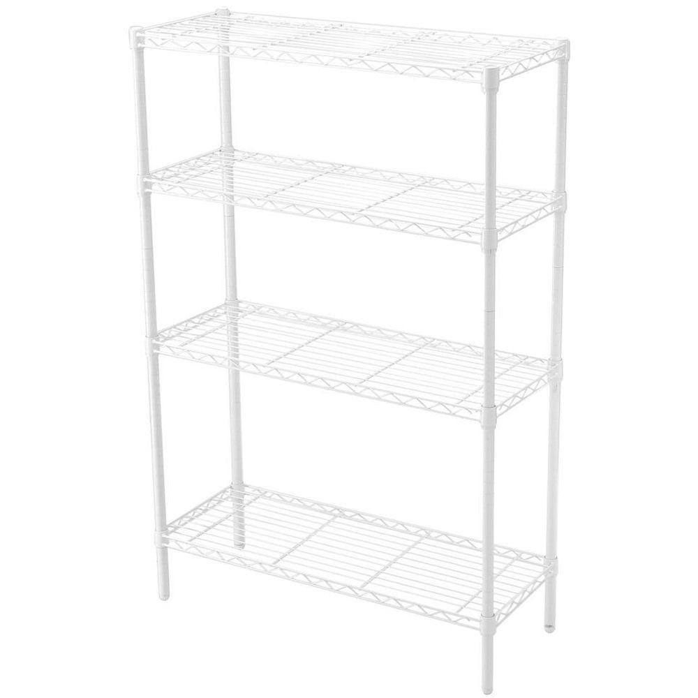HDX 36 in. x 14 in. 4-Tier Wire Shelf in White-EH-HDUS-004BS - The ...