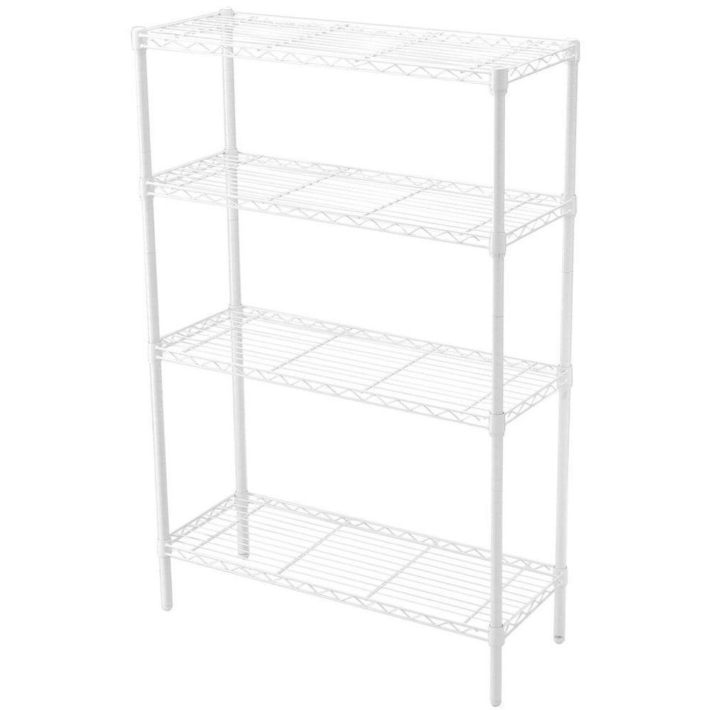 HDX 35-5/7 in. W x 53-3/4 in. H x 14 in. D White 4-Tier Wire Shelf