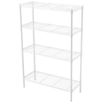 White 4-Tier Metal Wire Shelving Unit (36 in. W x 54 in. H x 14 in. D)