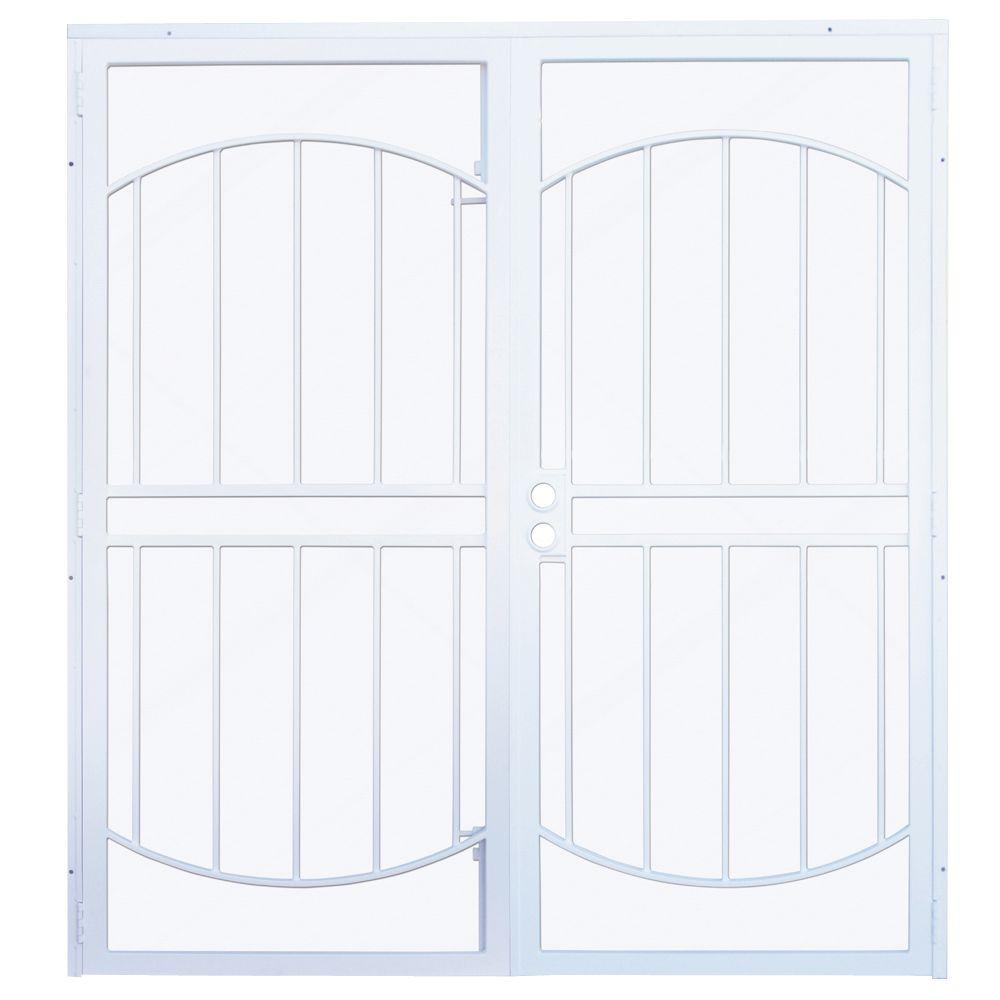 55d05ad56e1 Arcada White Surface Mount Outswing Steel Double Security Door with  Expanded Metal Screen-IDR0640072E001 - The Home Depot