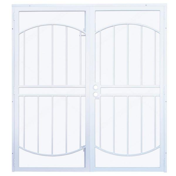 72 in. x 80 in. Arcada White Surface Mount Outswing Steel Double Security Door with Expanded Metal Screen