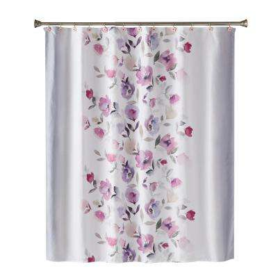 Garden Mist 72 in. Shower Curtain In Purple