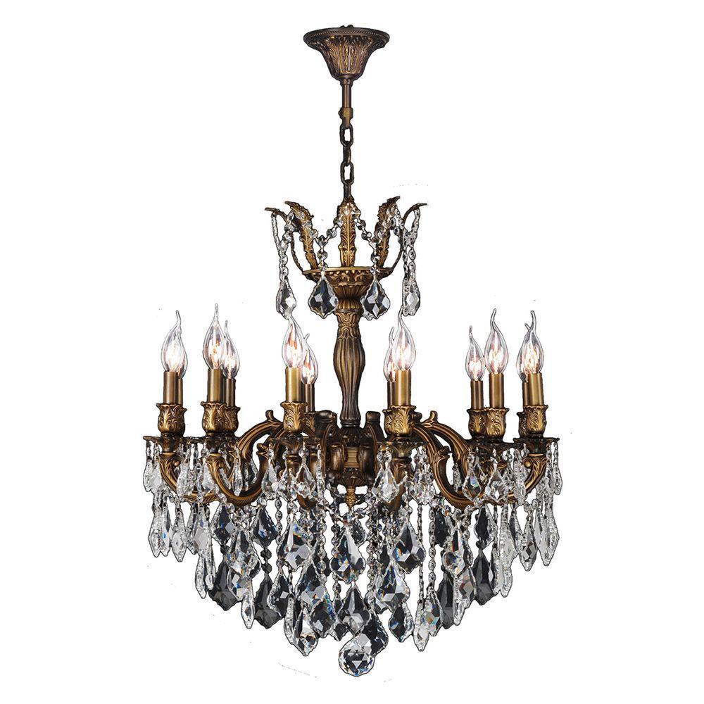 Versailles 12-Light Antique Bronze Crystal Chandelier