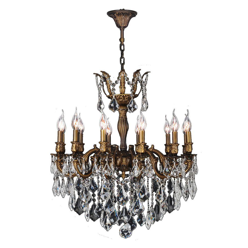 Worldwide Lighting Versailles 12-Light Antique Bronze Crystal Chandelier - Worldwide Lighting Versailles 12-Light Antique Bronze Crystal