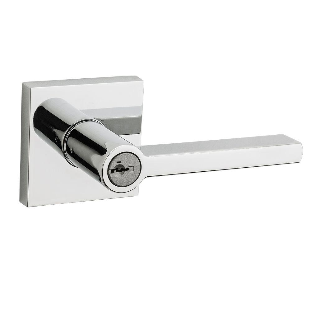 Halifax Square Polished Chrome Entry Lever featuring SmartKey