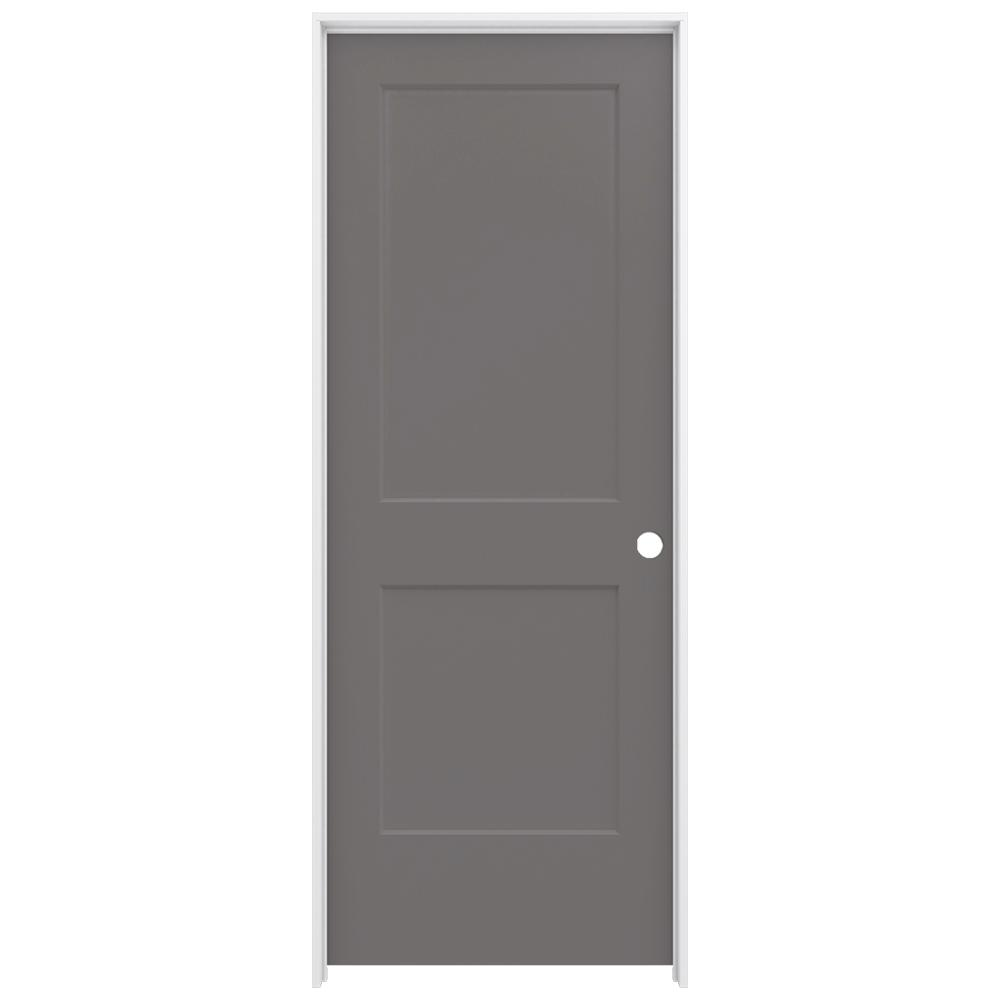 JELD-WEN 32 in. x 80 in. Monroe Weathered Stone Left-Hand Smooth Solid Core Molded Composite MDF Single Prehung Interior Door
