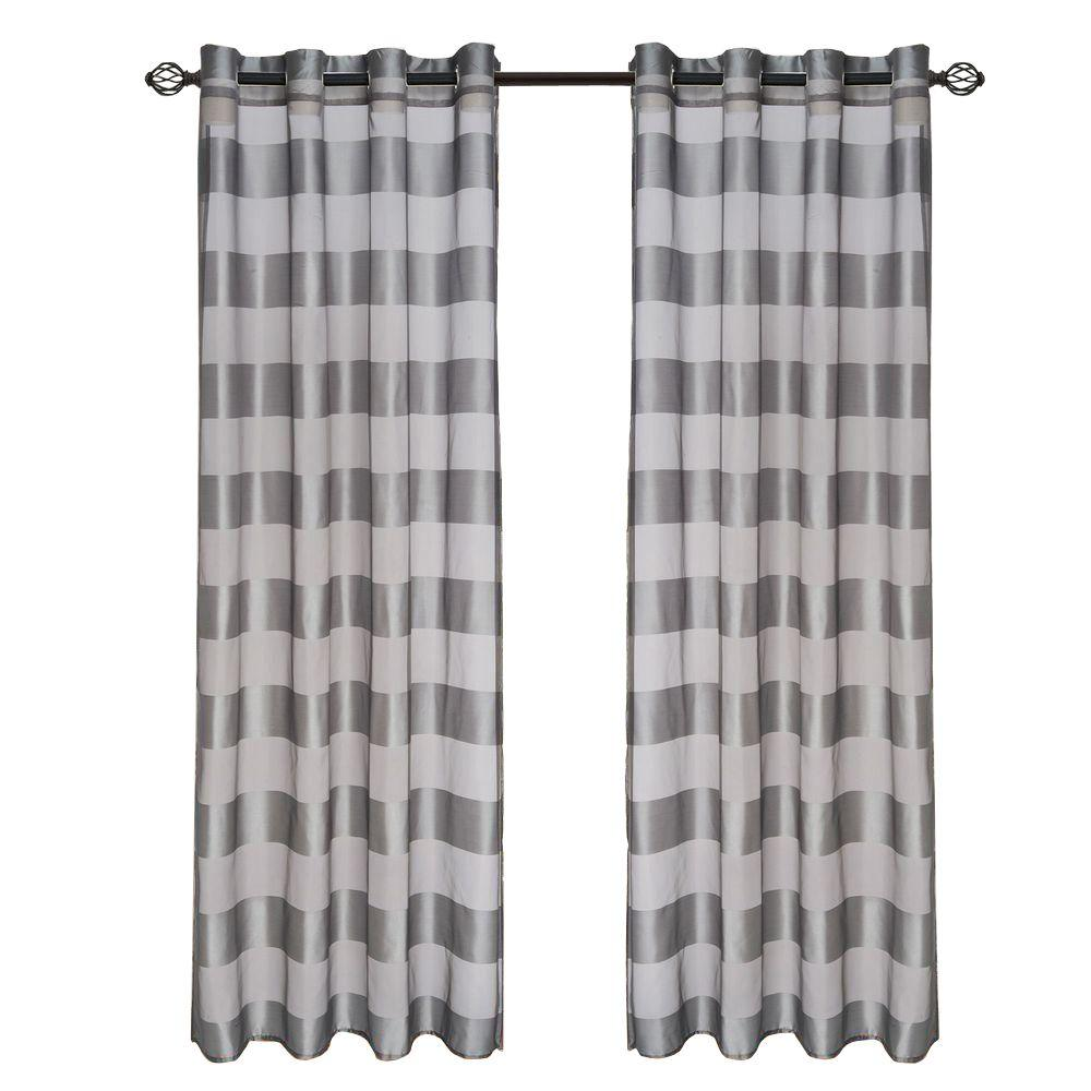Lavish Home Grey Sofia Grommet Curtain Panel, 84 in. Length