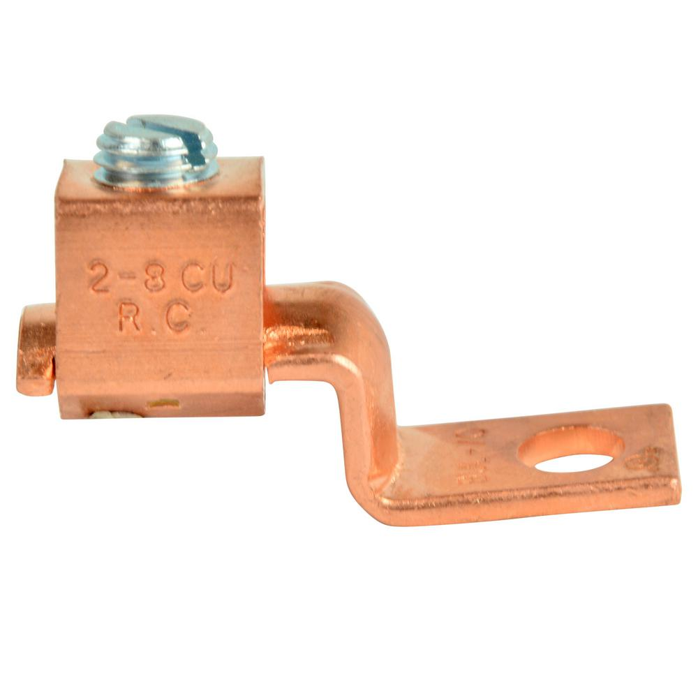 Copper Lug Mechanical 1/4 in. Stud 8-2 AWG 2-Pack (Case of