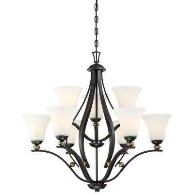 Shadowglen 9 Light Lathan Bronze Chandelier