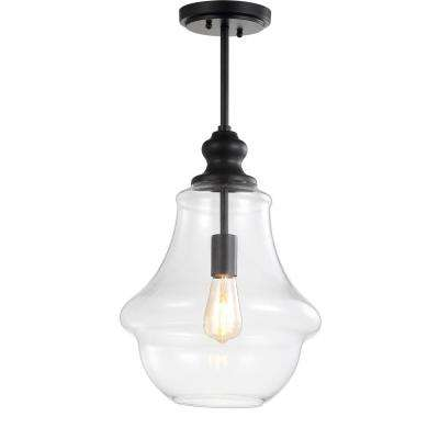Adam 12 in. 1-Light Oil Rubbed Bronze Adjustable Metal/Glass LED Pendant