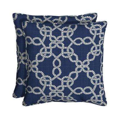 Sunbrella Ahoy Rivera Square Outdoor Throw Pillow (2-Pack)