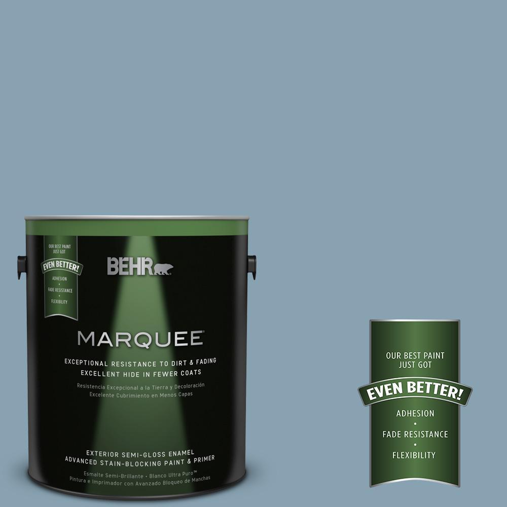 BEHR MARQUEE 1-gal. #T14-14 Cloisonne Blue Semi-Gloss Enamel Exterior Paint