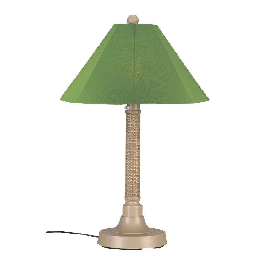 Patio Living Concepts Bahama Weave 34 in. Mojavi Outdoor Table Lamp with Palm Shade
